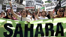 April 21, 2007. Atocha Street, Madrid. Spain. Demonstration in defense of the legitimate rights of Saharans to the self-determination and independence, and against of the spanish goverment support to Morocco, state that occupys illegally western Sahara fr